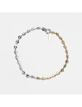 Chain Necklace Short Fashion Gold And Silver Filled Double Color Justine Pig Nose Clavicle Chain Layered Jewelry Korea Necklace by Quv