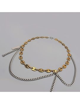 Chain Necklace Fashion Gold & Silver Filled Double Color Tassel Splicing Pig Nose Clavicle Chain Layered Korea Necklace by Quv