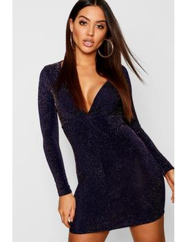 Knot Front Glitter Long Sleeve Mini Dress by Boohoo