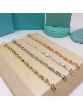 Brand Pure 925 Sterling Silver Jewelry For Women Rose Gold Link Chain Bracelet Wedding Jewelry Steam  U Shape Bracelet by Panmoer