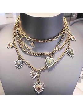 Brand Fashion Jewelry For Women Enamel Heart Neckalce Vintage Chain Heart Pendants Multiple Necklace Party Multiple Chain Choker by Lukastiel