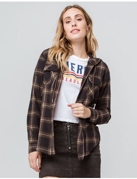 Destined Hooded Black Combo Womens Flannel Shirt by Destined