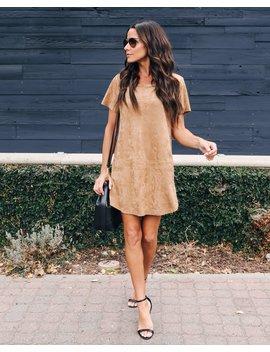 Kacie Suede Shift Dress   Camel by Vici