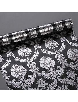 Simple Life4 U Silver Damask Contact Paper Decorative Black Shelf Drawer Liner Peel & Stick 17x118 Inches By Simple Life4 U by Simple Life4 U