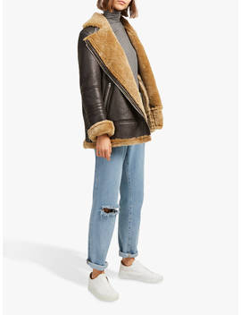 French Connection Night Toscana Shearling Jacket, Brown by French Connection