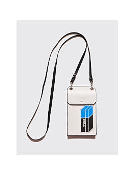 Prada Saffiano Leather Patch Logo Cellphone Bag White by Très Bien