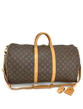 Auth Louis Vuitton Monogram Keepall Bandouliere 55 Boston Travel Hand Bag /N671 by Louis Vuitton