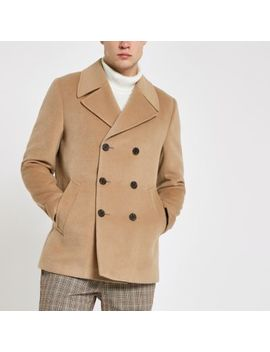 Light Brown Double Breasted Peacoat by River Island