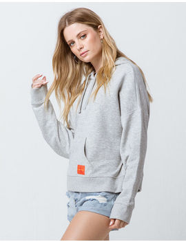 Calvin Klein Monogram Logo Heather Gray Womens Hoodie by Calvin Klein