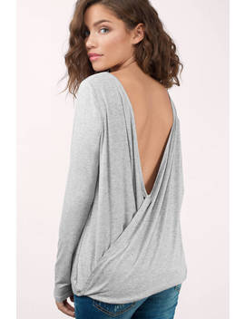 Twist Around Heather Grey Top by Tobi