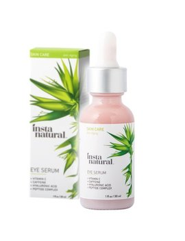 Insta Natural Eye Serum For Dark Circles & Puffiness   Reduces Bags, Wrinkles, Fine Lines, Sagging Skin & Puffy Eyes   With Vitamin C, Caffeine, Plant Stem Cells, Astaxanthin & Kojic Acid   1 Oz by Insta Natural