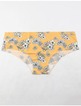 Full Tilt Printed Laser Cut Mustard Boyshorts by Full Tilt