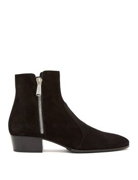 Men's Black Anthos Suede Ankle Boots by Balmain