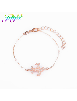 New Arrival Jewelry Micro Pave Zircon France Flower Fleur De Lis Charm Bracelet For Women Men Jewelry Making Diy Handmade by Juya