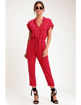 Shela Magenta Button Up Drawstring Jumpsuit by Lulus