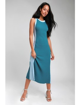 Hype Woman Teal Blue Color Block Ribbed Knit Midi Dress by Lulus