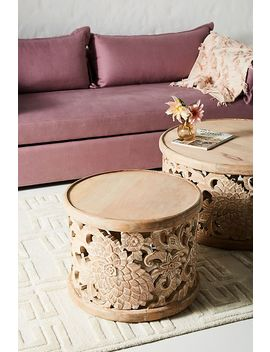 Handcarved Lotus Side Table by Anthropologie