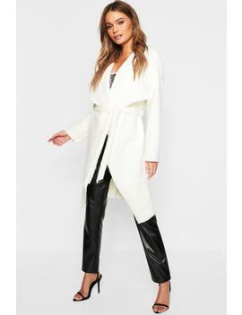 Brushed Wool Look Belted Waterfall Coat by Boohoo