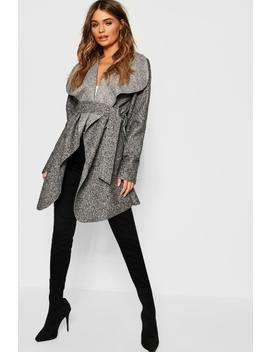 Shawl Collar Belted Boucle Coat by Boohoo