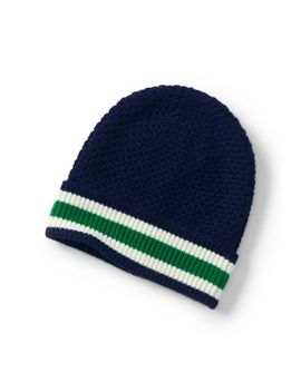 Women's Fold Over Stripe Brim Beanie by Lands' End