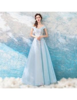 Angel Bridal   Butterfly Applique Off Shoulder Evening Gown by Angel Bridal