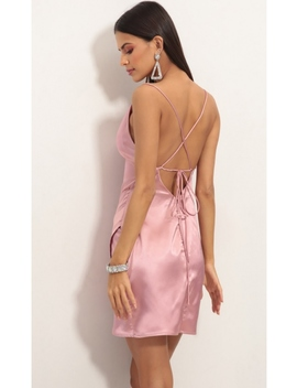 Love Lies Satin Dress In Rose by Lucy In The Sky