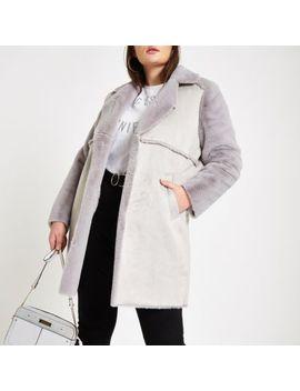 Plus Grey Suede Faux Fur Trim Longline Coat by River Island