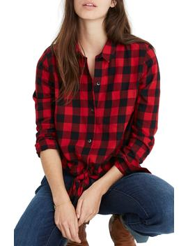 Buffalo Check Tie Front Flannel Shirt by Madewell
