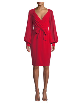V Neck Blouson Sleeve Faux Wrap Cocktail Dress by Badgley Mischka Collection