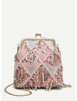Kiss Lock Sequins Decor Chain Bag by Sheinside
