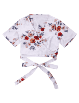 Floral Printed Crop Wrap Blouse   White S by Zaful