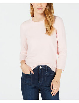 3/4 Sleeve Crewneck Sweater, Created For Macy's by Maison Jules