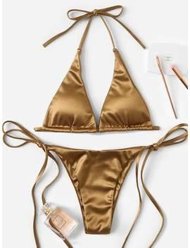 Metallic Halter Top With Tie Side Bikini Set by Sheinside