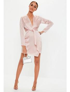 Rose Pink Silky Plunge Wrap Shift Dress by Missguided