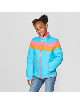Girls' Reversible Puffer Jacket   Cat & Jack™ Blue by Cat & Jack