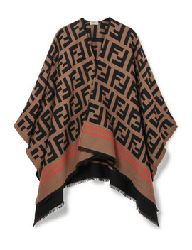 Frayed Wool And Silk Blend Jacquard Poncho by Fendi