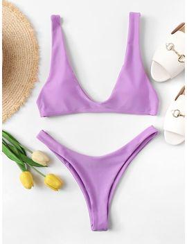 Double Scoop Top With High Leg Bikini Set by Sheinside