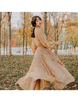 Nebbia   V Neck Long Sleeve Maxi Lace Dress by Nebbia