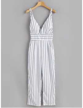 Backless Striped Cami Jumpsuit   White M by Zaful