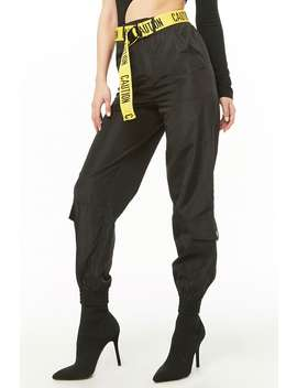 Caution Cargo Wind Joggers by Forever 21