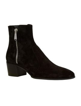 Men's Black Suede Western Ankle Boots by Balmain