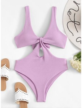 Cut Out Tie Back One Piece Swimsuit by Sheinside