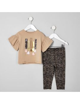 Mini Girls Beige Leopard Print Legging Set by River Island