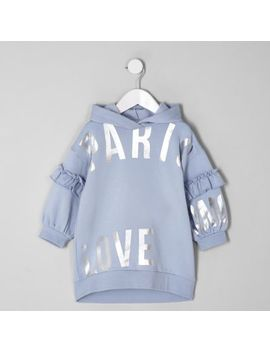 Mini Girls Blue 'Paris' Hooded Sweat Dress by River Island