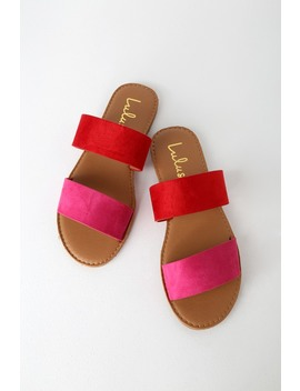 Time To Chill Red Fuchsia Slide Sandals by Lulus