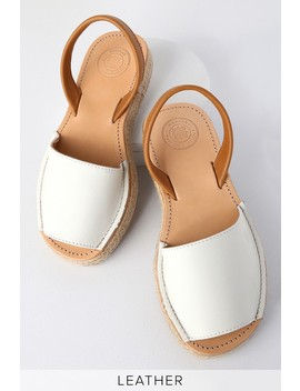 Leticia White Leather Espadrille Flat Sandals by Morkas