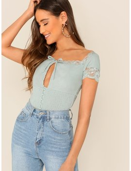 Lace Trimmed Tie Keyhole Neck Smocked Waist Top by Sheinside