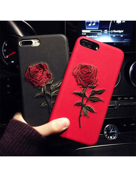 Creative Women Girls Embroidery Rose Back Case Cover For I Phone 6s Plus 7 Xs Max by Unbranded