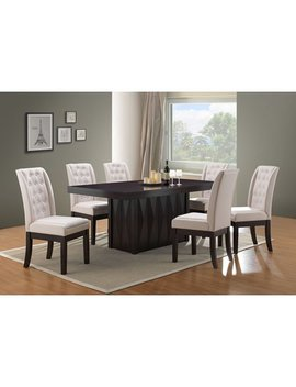 "Riley 7 Piece Cappuccino Wood Transitional 71"" Rectangle Dinette Formal Dining Room Table & 6 Bone Upholstered Fabric Parsons Side Chairs Set by Pilaster Designs"