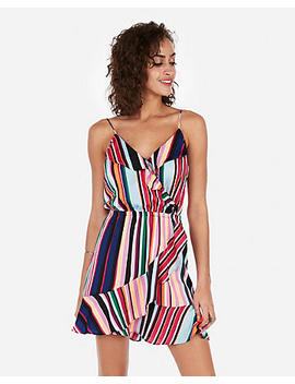 Satin Striped Ruffle Surplice Wrap Cami Dress by Express